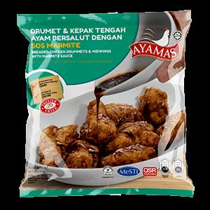 Ayamas Breaded Drummets _ Mid Wings w Marmite Sauce